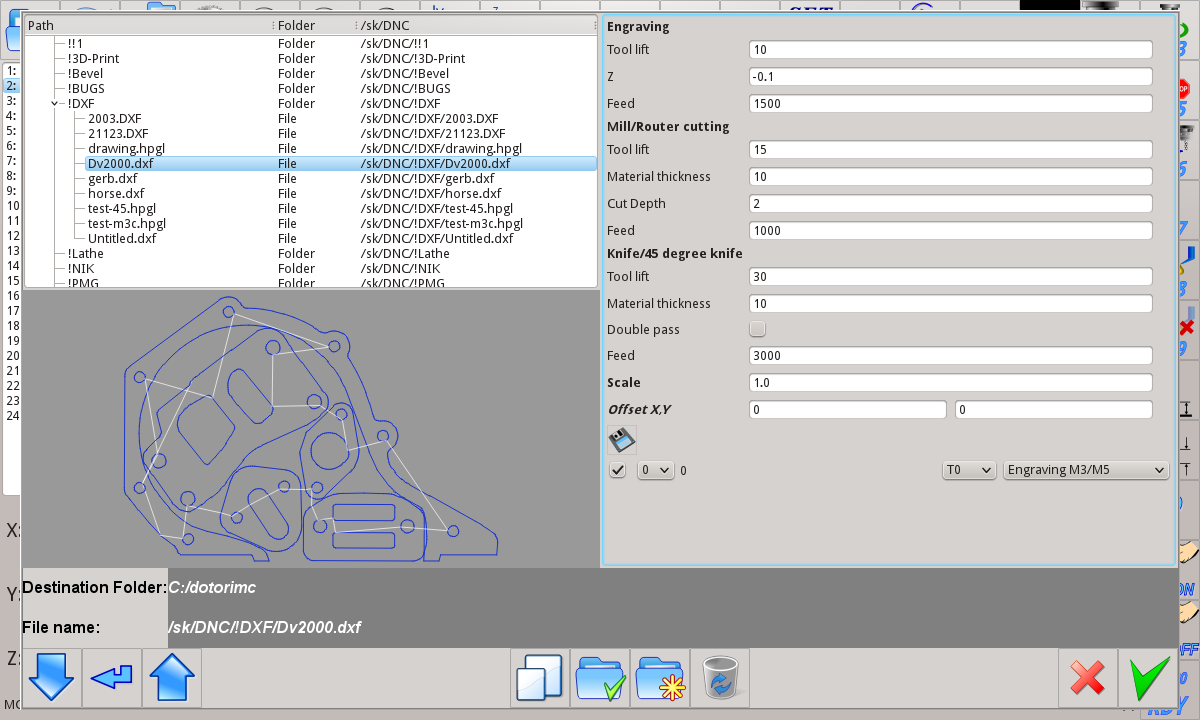 myCNC softwareDXF/HPGL convert to G-codes settings